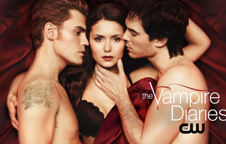 Photo wallpaper red, background, the series, Nina Dobrev, Nina Dobrev, the vampire diaries, Ian Somerhalder, Ian Somerhalder, …