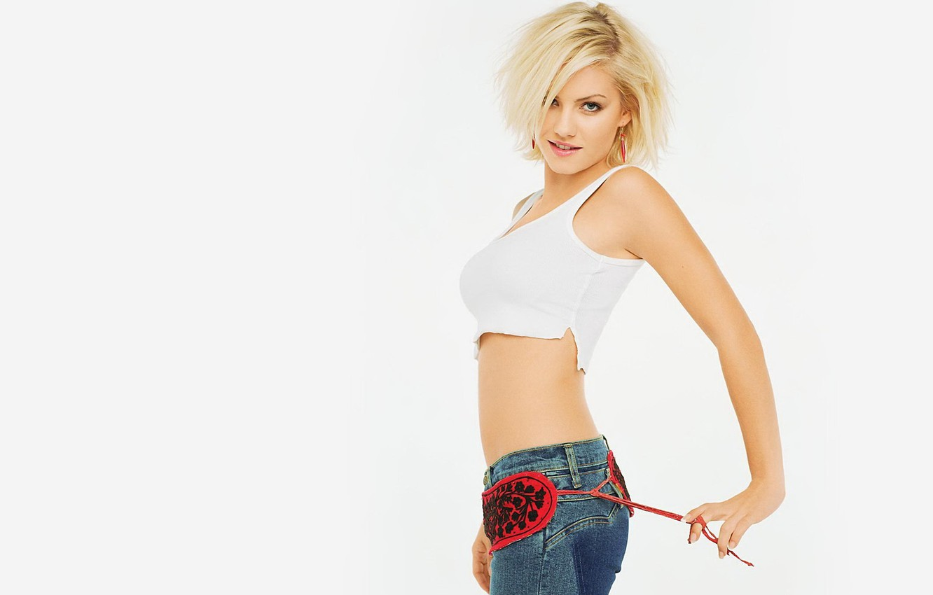 Wallpaper Girl Jeans White Background Elisha Cuthbert
