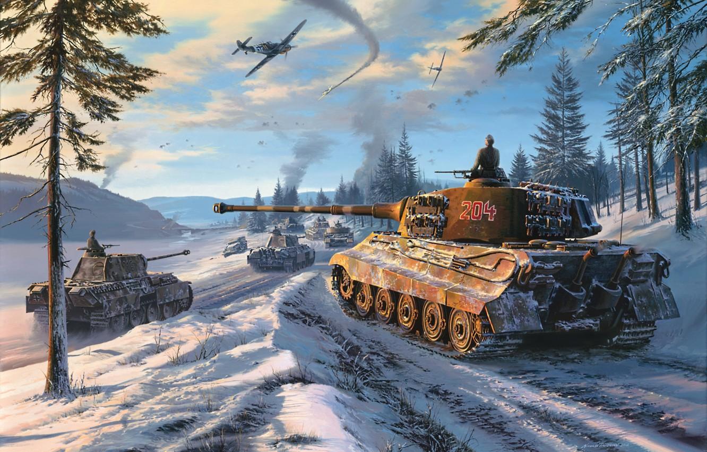 Photo wallpaper winter, forest, the sky, snow, figure, Panther, aircraft, tanks, column, the second world war, medium …