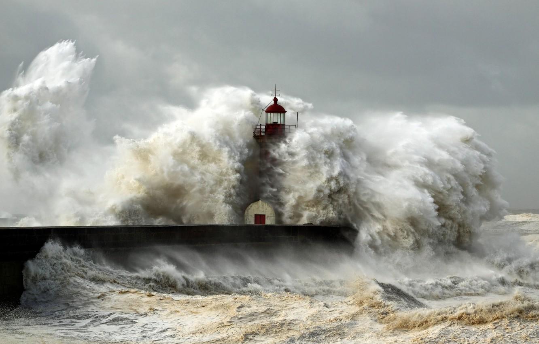 Photo wallpaper wave, storm, the ocean, element, lighthouse