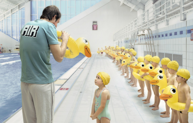 Photo wallpaper children, pool, duck, coach