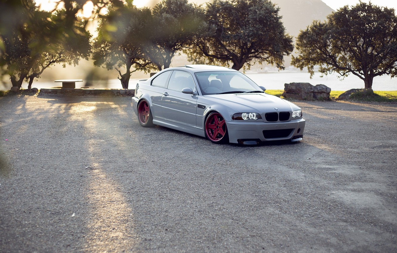 Photo wallpaper white, trees, bmw, BMW, red, red, white, wheels, drives, e46