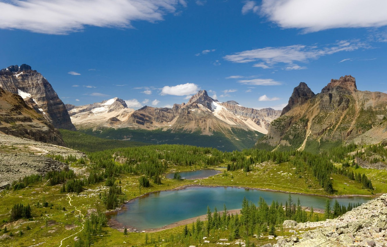 Photo wallpaper clouds, trees, mountains, pond