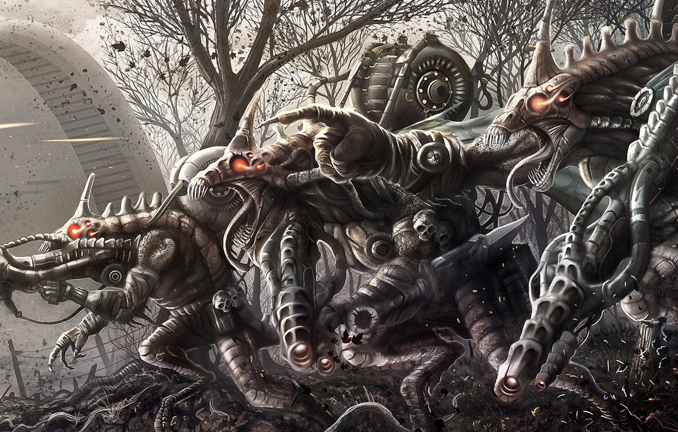 Photo wallpaper forest, weapons, monsters, shots, invasion, burning eyes, Aliens