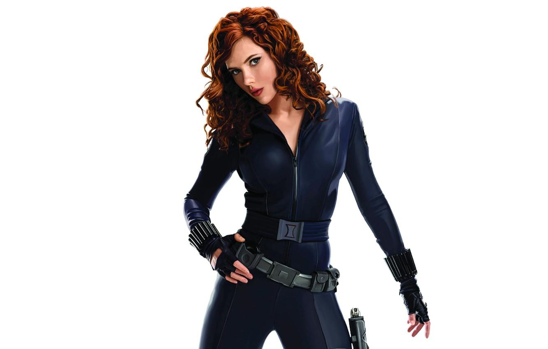 Photo wallpaper Scarlett Johansson, blue, pose, Avengers, black widow, uniform
