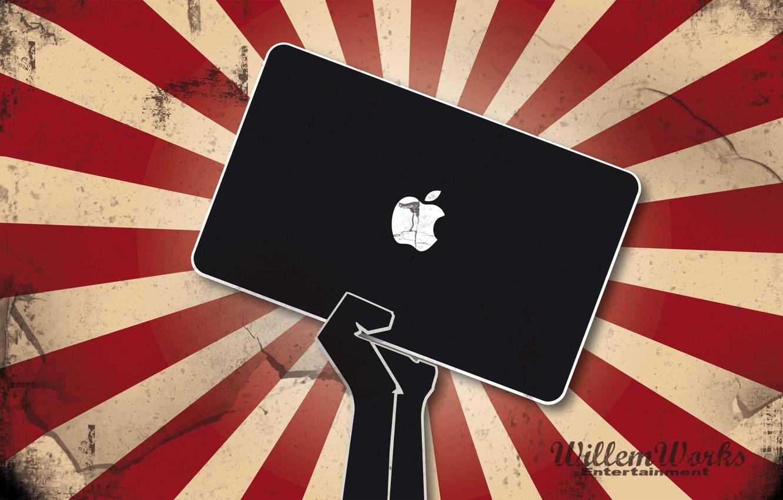 Photo wallpaper apple, Apple, hand, emblem