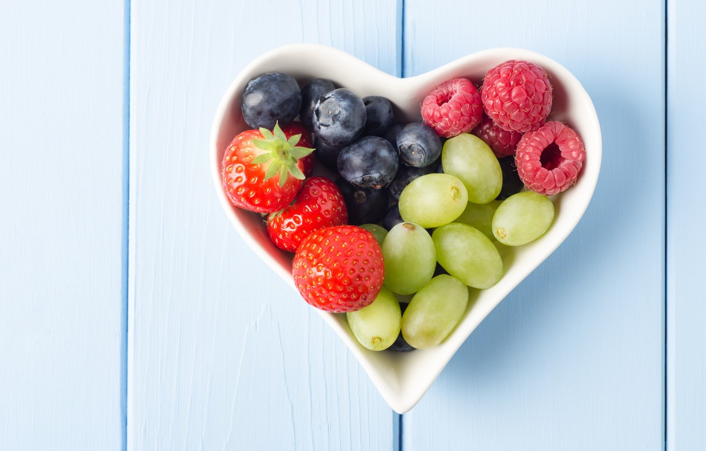 Photo wallpaper berries, raspberry, background, widescreen, Wallpaper, heart, food, blueberries, strawberry, plate, grapes, wallpaper, form, heart, widescreen, ...