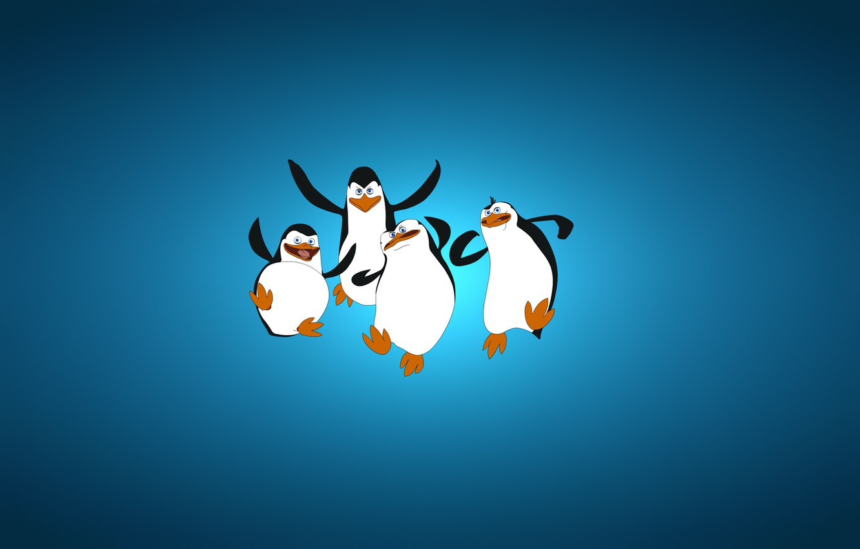 Photo wallpaper minimalism, blue background, four, The Penguins of Madagascar, The penguins of Madagascar