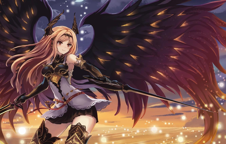 Photo wallpaper girl, weapons, wings, sword, art, shingeki no bahamut, dark angel olivia, eruthika