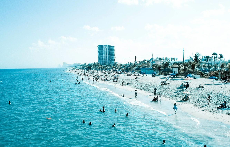 Photo wallpaper sand, sea, beach, blue, people, blue, stay, shore, coast