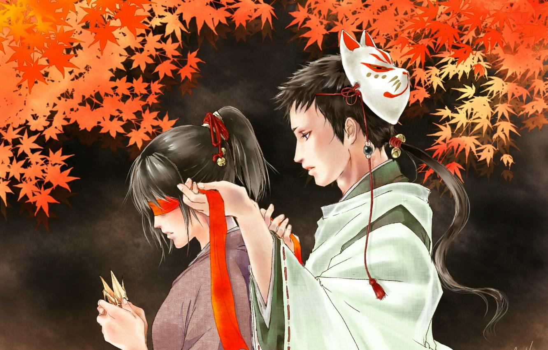 Photo wallpaper mask, headband, kimono, two, origami, red leaves, bells