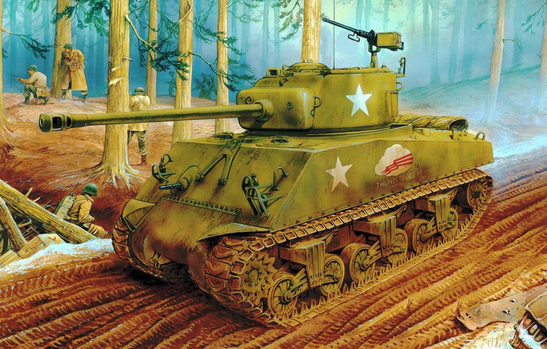 Wallpaper war, art, painting, ww2, sherman tank, M4A3 (76)W images