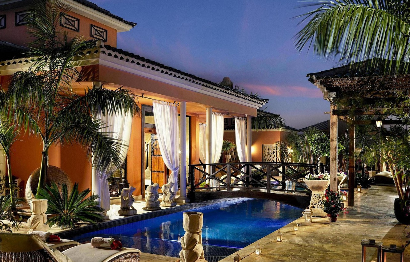 Photo wallpaper house, pool, chairs, curtains, the bridge, pool, vases, trees., statuettes