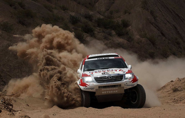 Photo wallpaper Sand, Turn, Toyota, Hilux, Rally, Dakar, Dakar, Toyota, The front