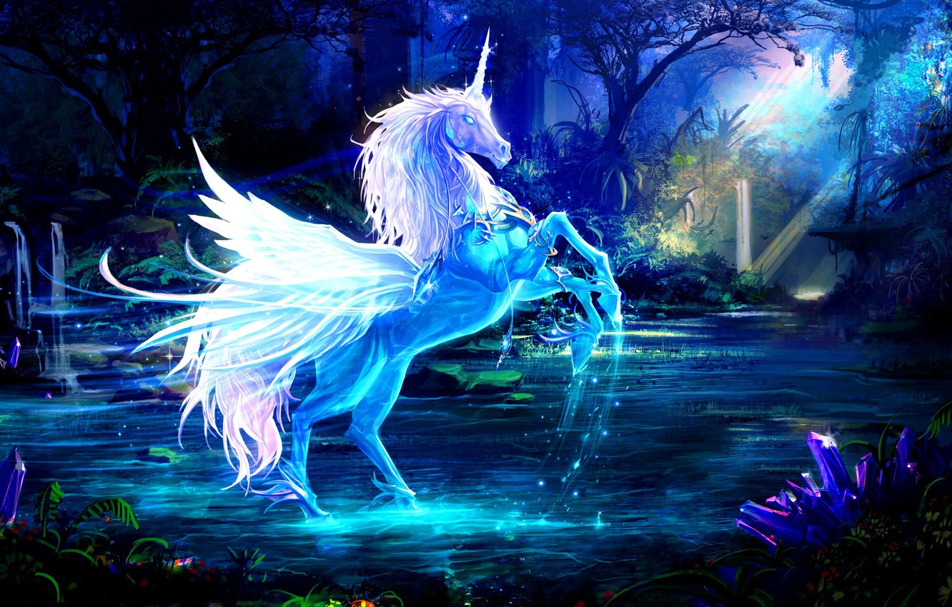 Photo wallpaper forest, water, rays, horse, art, unicorn
