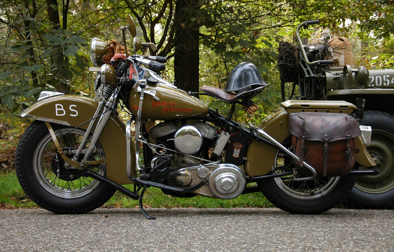 Photo wallpaper road, motorcycle, helmet, military, Harley-Davidson, WLA