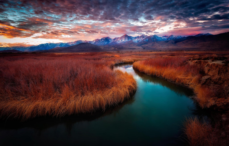 Photo wallpaper mountains, river, dawn, california, sunrise, Owens River, Owens River Valley, Mt. Whitney, eastern Sierras, Big …