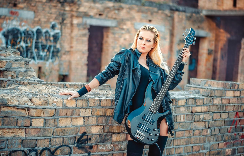 Photo wallpaper girl, guitar, brick, jacket, blonde, the ruins, in black, kozhanka