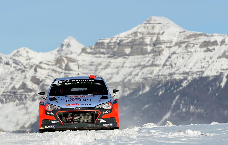 Photo wallpaper Mountains, Hyundai, WRC, Rally, Monte Carlo, i20, FAS