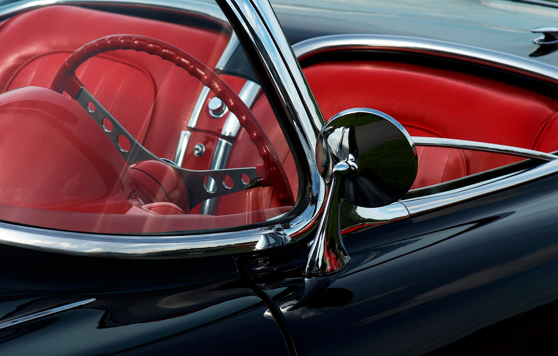 Photo wallpaper glass, mirror, the wheel, convertible, seat