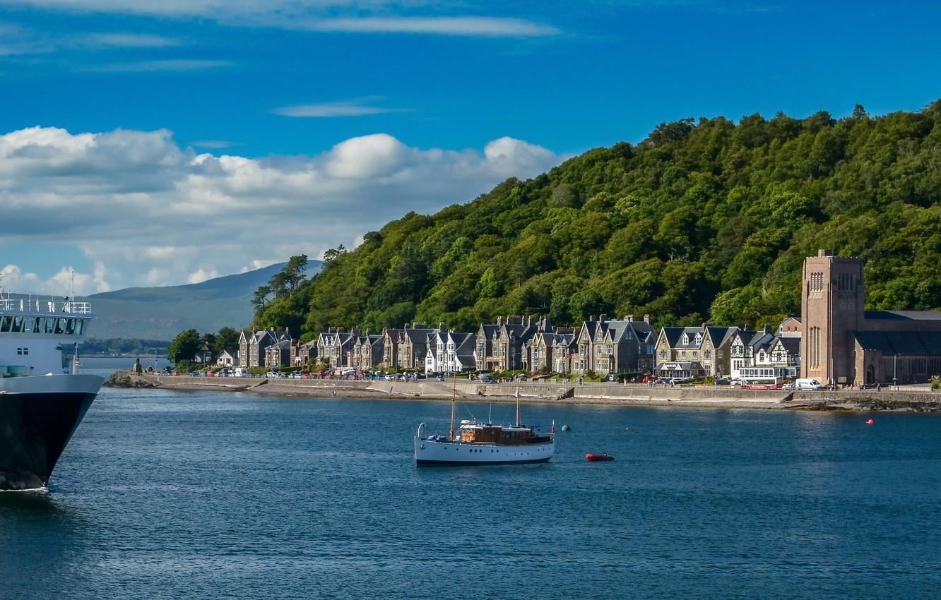 Photo wallpaper ship, building, home, Scotland, panorama, town, ferry, promenade, Scotland, Oban, Argyll and Bute, Firth of …