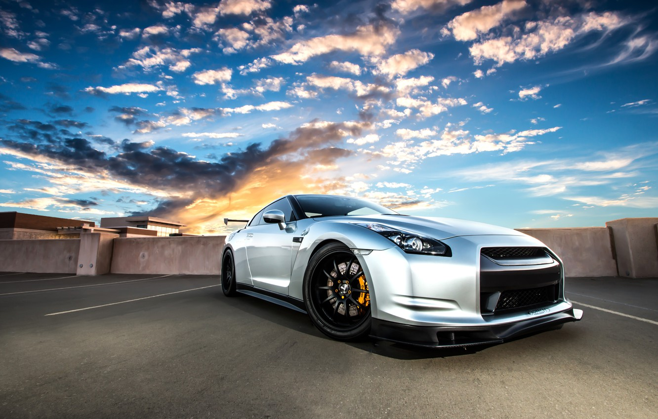 Photo wallpaper roof, the sky, clouds, sunset, silver, nissan, gt-r, GT-R, r35, silvery, niisan