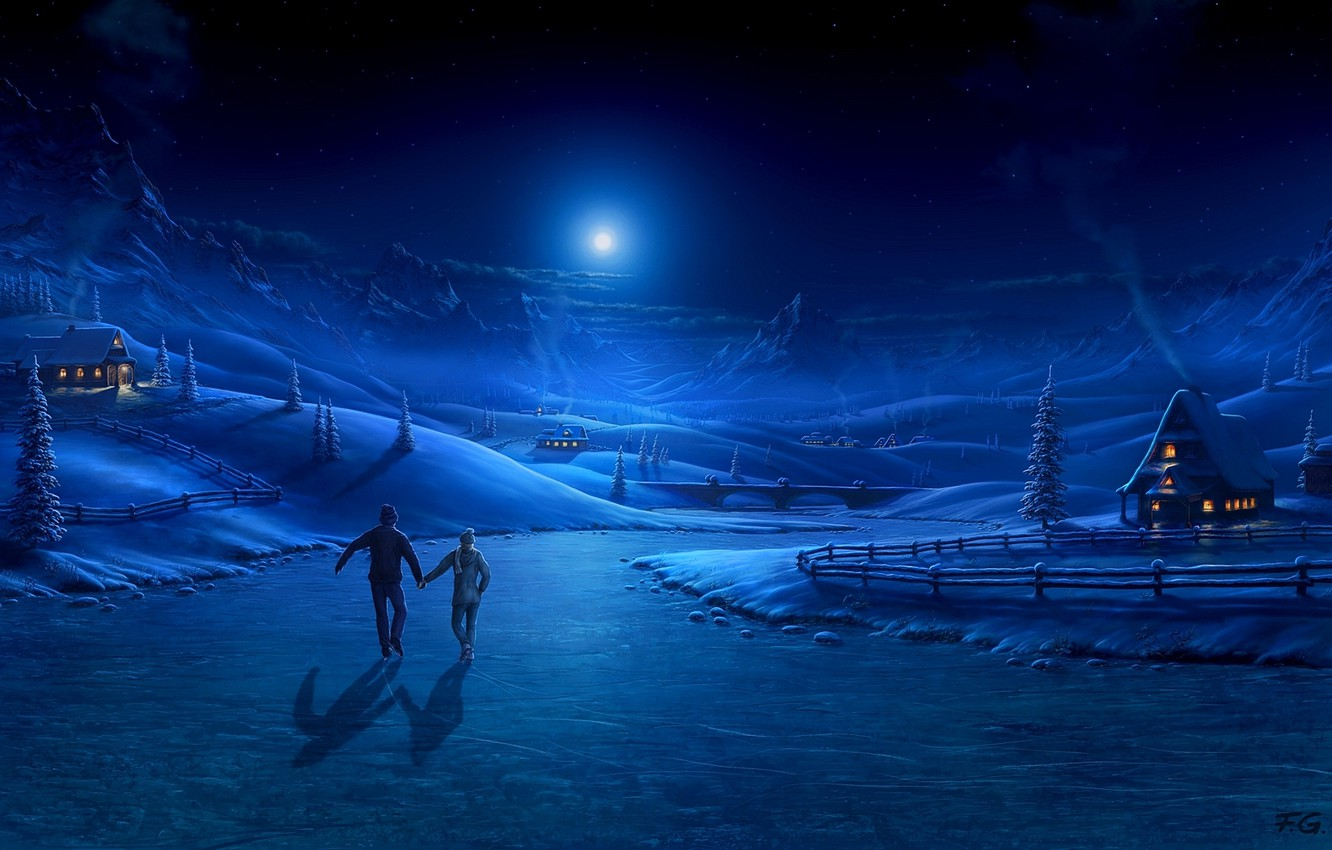 Photo wallpaper winter, the moon, home, pair