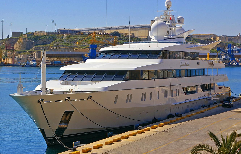 Photo wallpaper sea, the sky, ship, yacht, pier, port