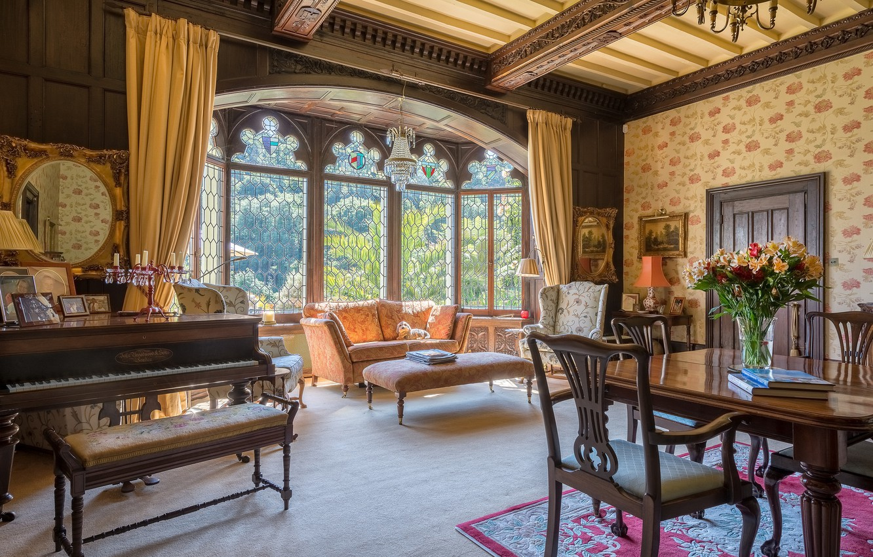 Wallpaper Design Table Sofa Tree Furniture Windows Chairs