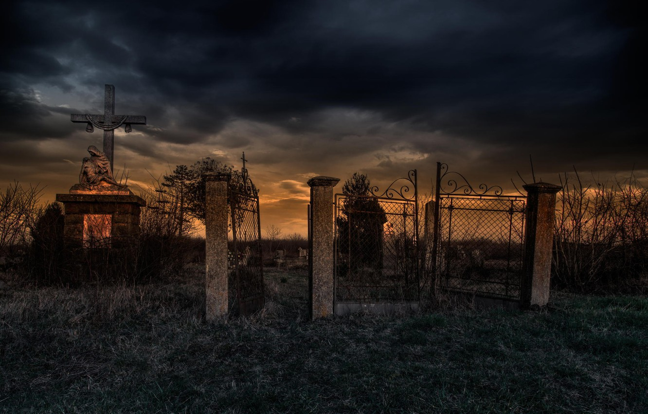 Photo wallpaper cross, gate, cemetery, Last Exit for the Lost