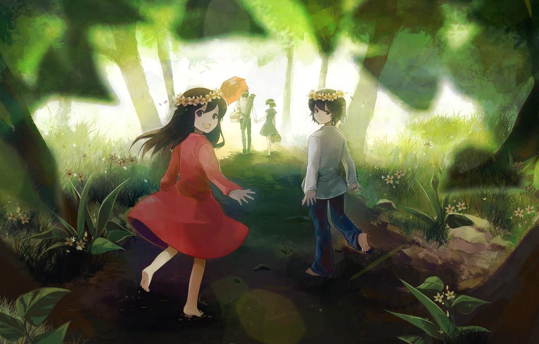 Photo wallpaper road, forest, trees, flowers, nature, children, smile, umbrella, anime, boy, family, art, girl, picnic, ame, …