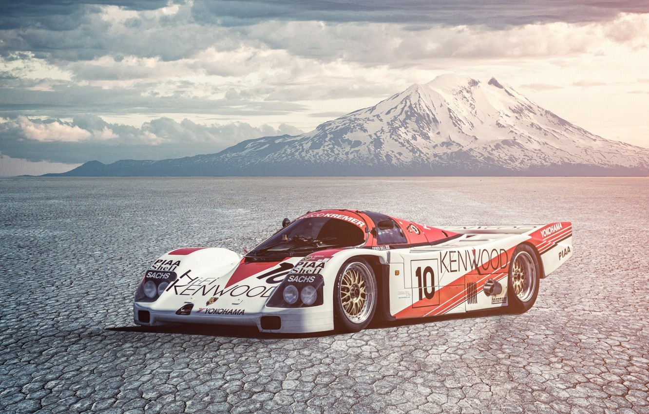 Photo wallpaper Porsche, Car, Race, Mountain, 962, Derek Bell, Salt Desert