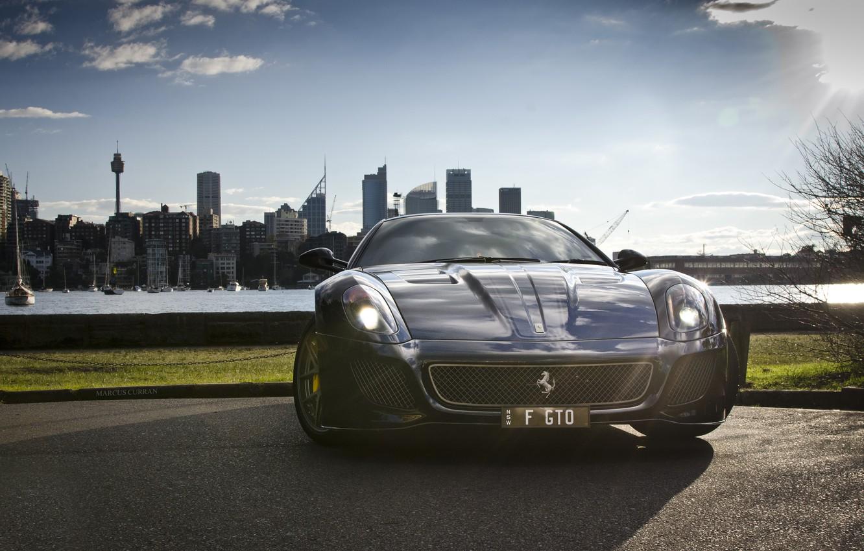 Photo wallpaper sea, city, the city, building, home, black, before, Ferrari, is, Ferrari, drives, black, 599, GTO, …