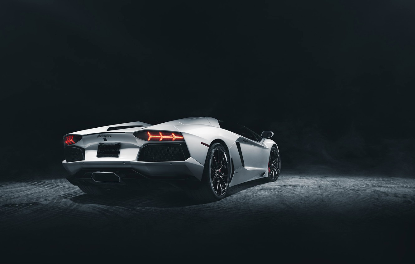 Photo wallpaper Roadster, Lamborghini, Dark, White, Studio, LP700-4, Aventador, Supercar, Rear