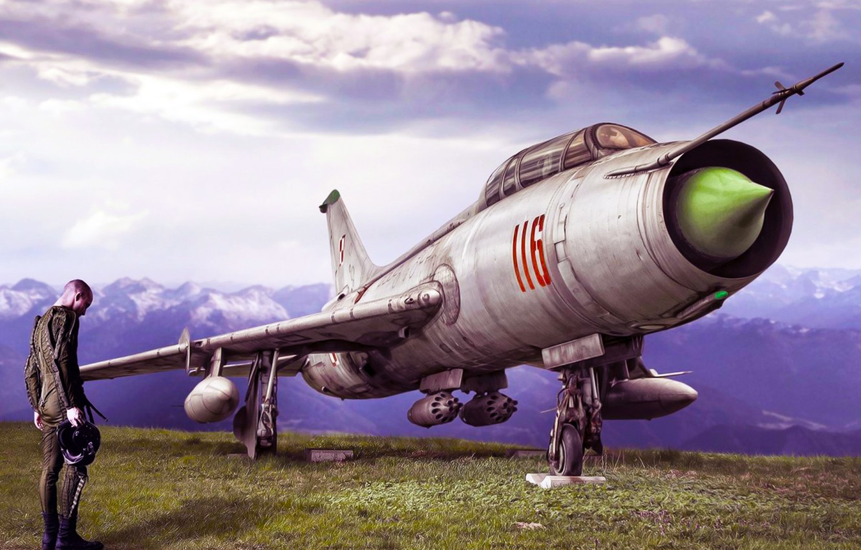 Photo wallpaper figure, The sky, Grey, Nose, ART, Aviation, fighter-bomber, Pilot, Pilot, 116, Fitter, Su-7