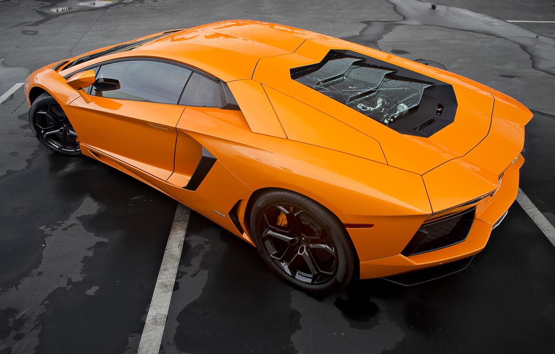 Photo wallpaper Lamborghini, Lamborghini, Orange, LP700-4, Aventador, Aventador