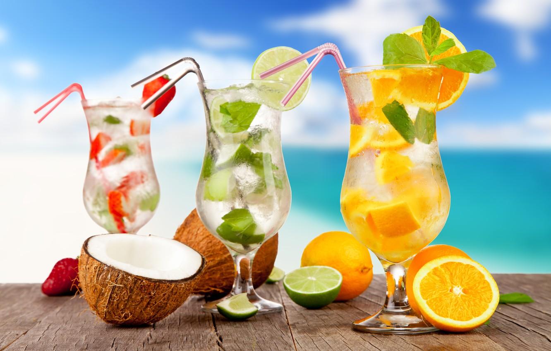Photo wallpaper sea, beach, cocktail, summer, fruit, beach, fresh, sea, fruit, paradise, drink, cocktail, tropical