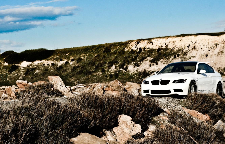 Photo wallpaper white, grass, stones, bmw, BMW, white, e92