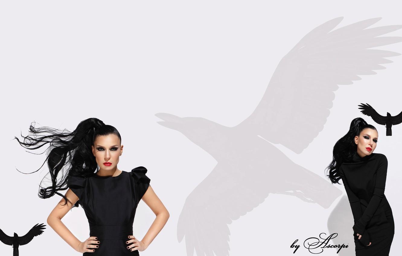 Photo wallpaper white, black, singer, tree, Raven, r'n'b