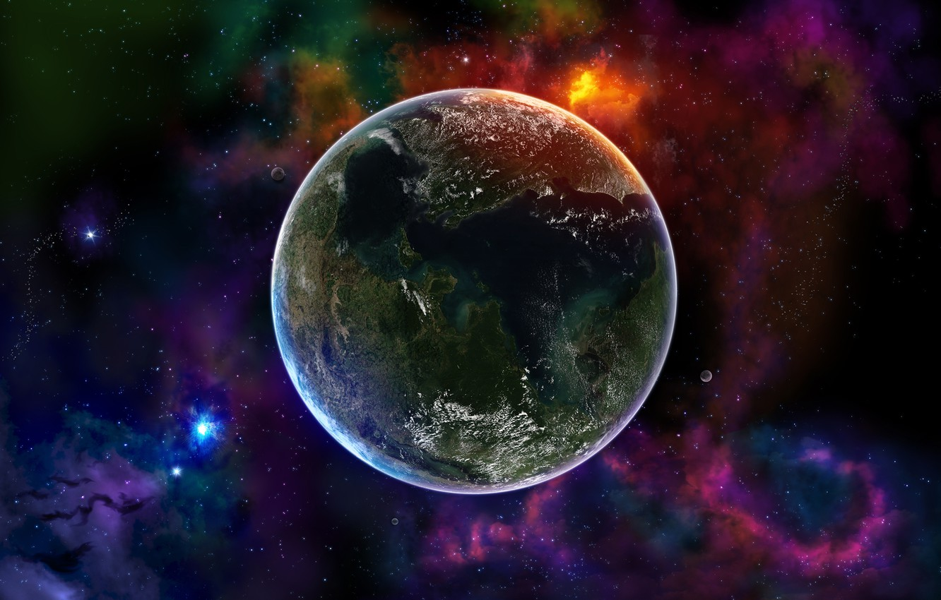 Photo wallpaper Planet, Space, Earth, Color, Stars