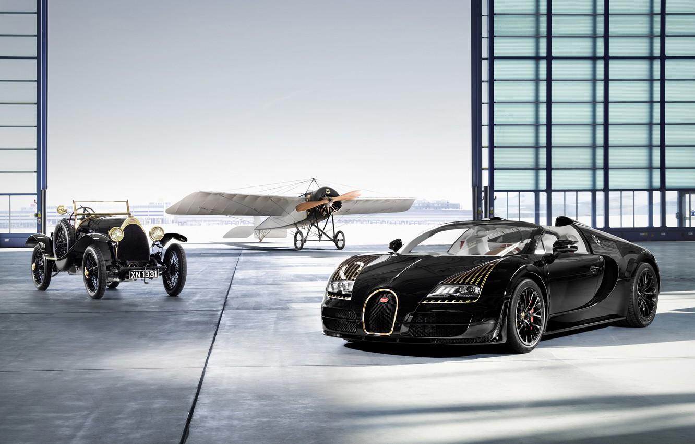 Photo wallpaper Hangar, Bugatti Veyron, Rarity, Black Bess, Glider