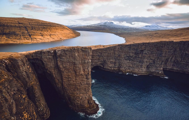 Photo wallpaper sea, the sky, clouds, mountains, river, the ocean, rocks, Faroe Islands