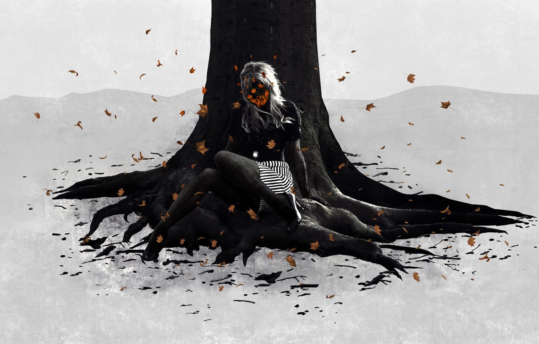 Photo wallpaper leaves, girl, Tree