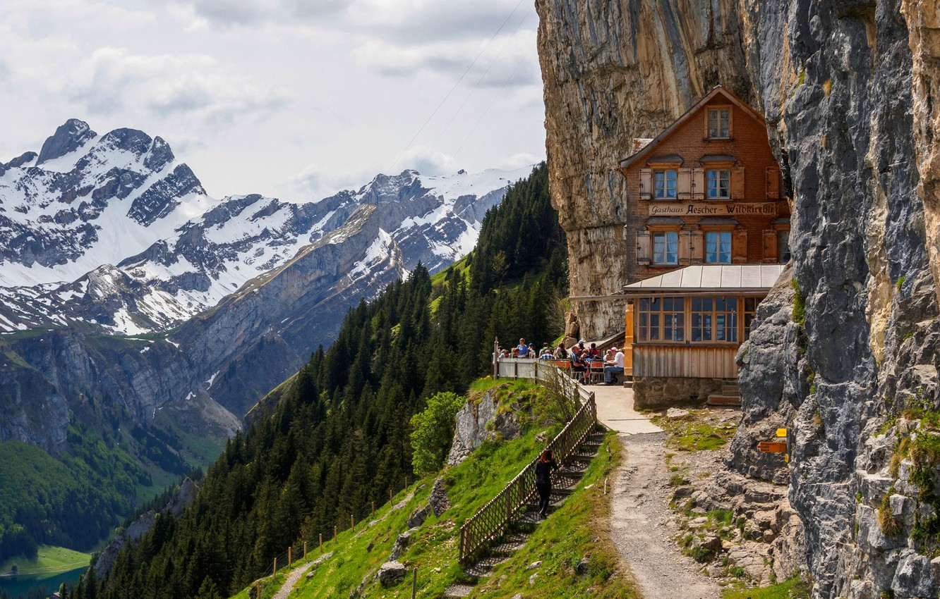 Photo wallpaper road, the sky, mountains, rock, people, cafe