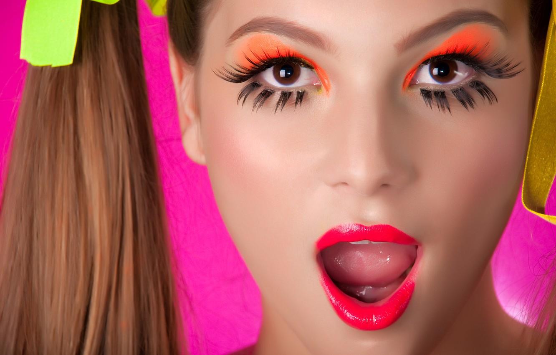 Photo wallpaper eyes, look, face, Girl, makeup, lips