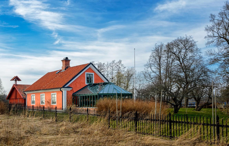 Photo wallpaper trees, house, yard, house, Nature, trees