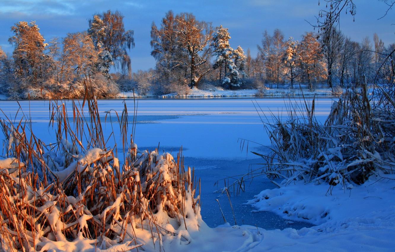 Photo wallpaper Winter, River, Germany, Snow, Laupheim