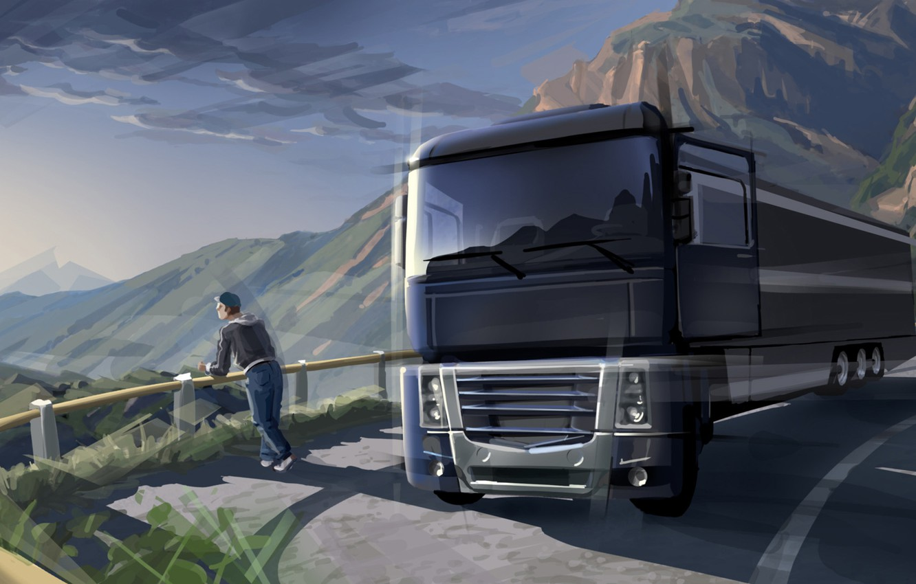 Photo wallpaper road, markup, stay, art, van, car, painting, nature, trailer, tractor, cargo, the truck, contemplation, mountains., ...