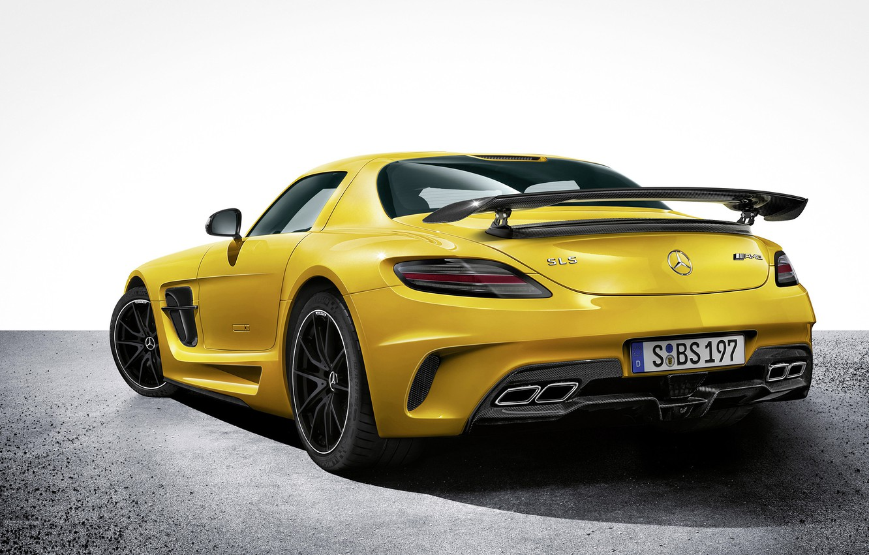 Photo wallpaper Yellow, Mercedes, Car, Car, AMG, Mercedes SLS, Wallpapers, Yellow, AMG, Wallpaper, Sports car, SLS, Back