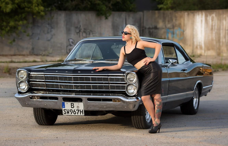 Photo wallpaper Model, Miss Doll, Ford Galaxie 500XL